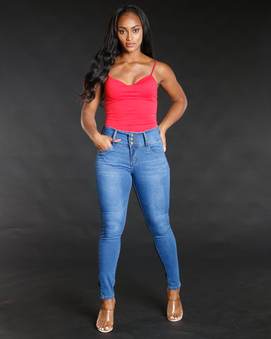 Medium Denim Three Button Colombian Jeans