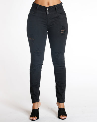 Black Three Button Ripped Jeans