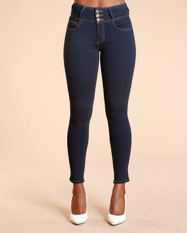 Three Button Colombian Jeans - Medium Blue