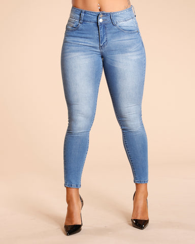 Two Button Colombian Jeans - Medium Blue