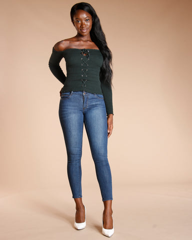 Two Button Colombian Jeans - Dark Blue