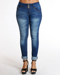 Dark Blue Three Button Colombian Jeans