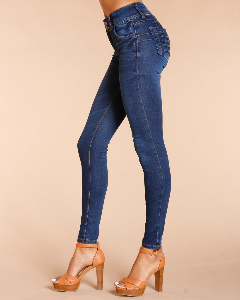TWO BUTTON PUSH UP JEANS - NAVY