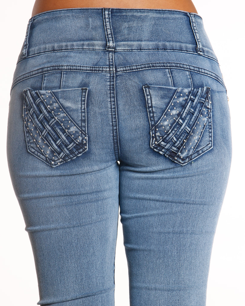 VIM VIXEN Three Button Colombian Jean - Light Blue - ShopVimVixen.com