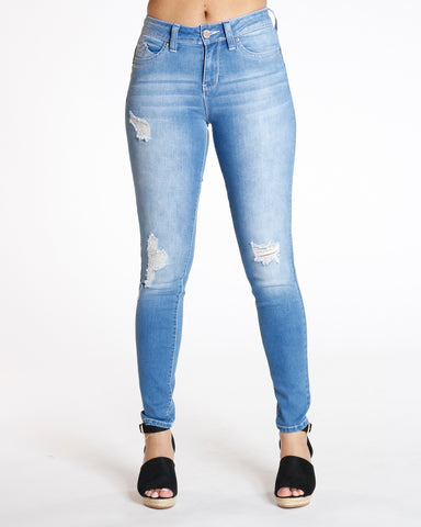 Medium Denim Ripped Cable Stitching Jean