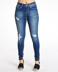 YMI Joanne Ripped Cable Stitching Jean - Dark Blue - ShopVimVixen.com