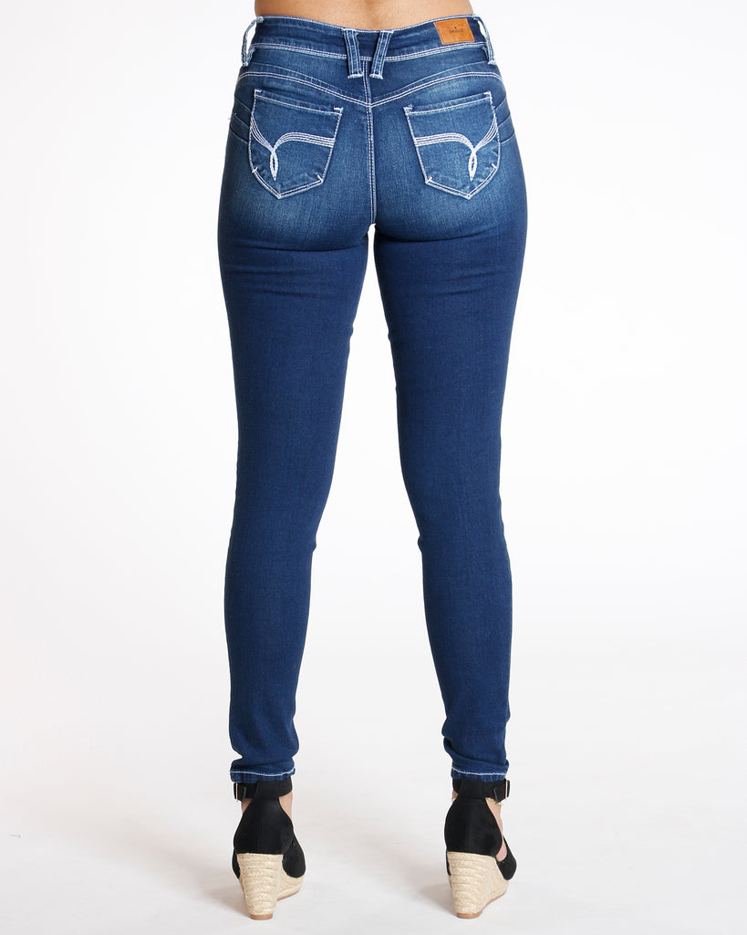 Joanne Dark Blue Ripped Cable Stitching Jean