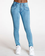 VIM VIXEN Elvina Acid Three Button Colombian Jean - Medium Denim - ShopVimVixen.com