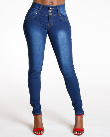 Dark Blue Three Button Colombian Jean