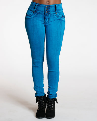 Teal Three Button Colombian Jean
