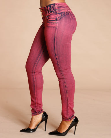 Kiley Burgundy Three Button Colombian Jeans