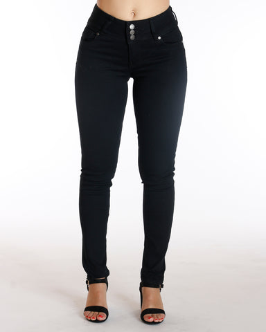 Vernie Black Three Button Colombian Jean