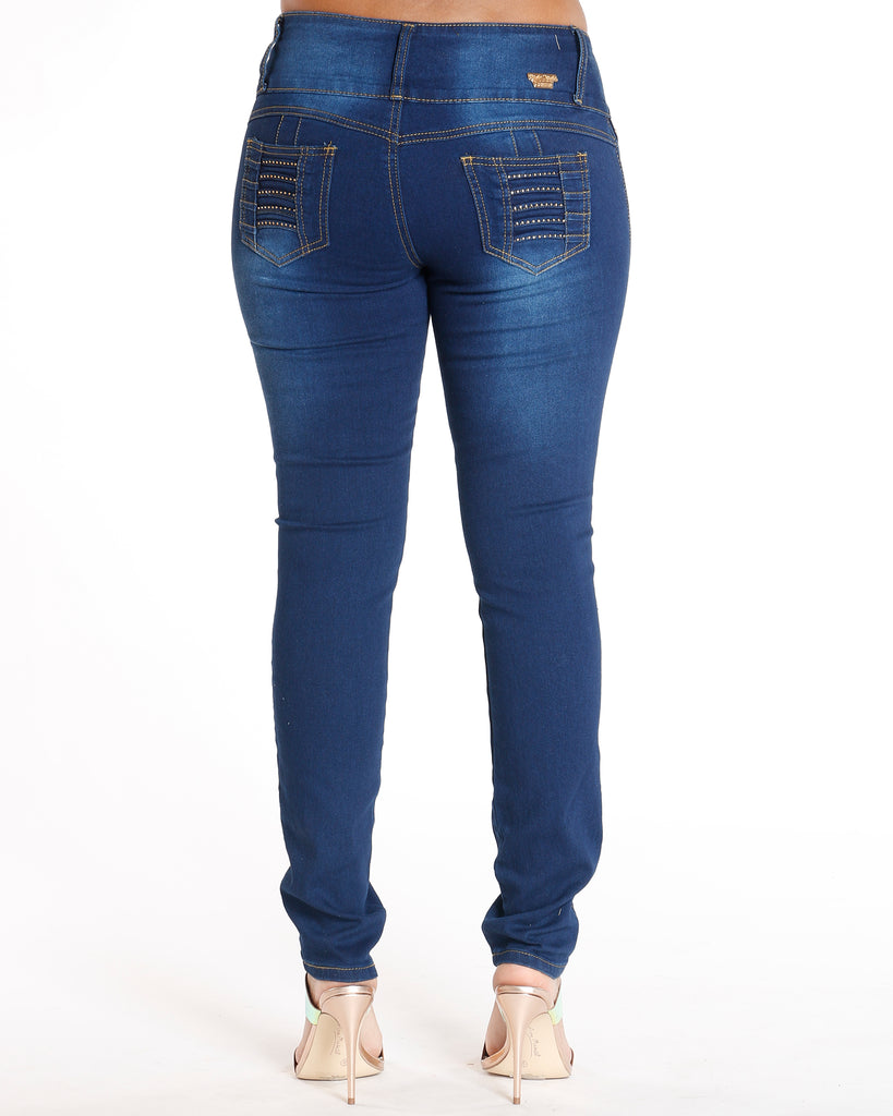 Virdie Three Button Rhinestone Colombian Jean - Dark Blue