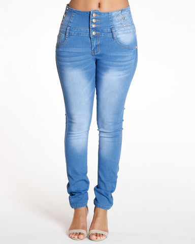 Four Button Colombian Yolk Trim Jean