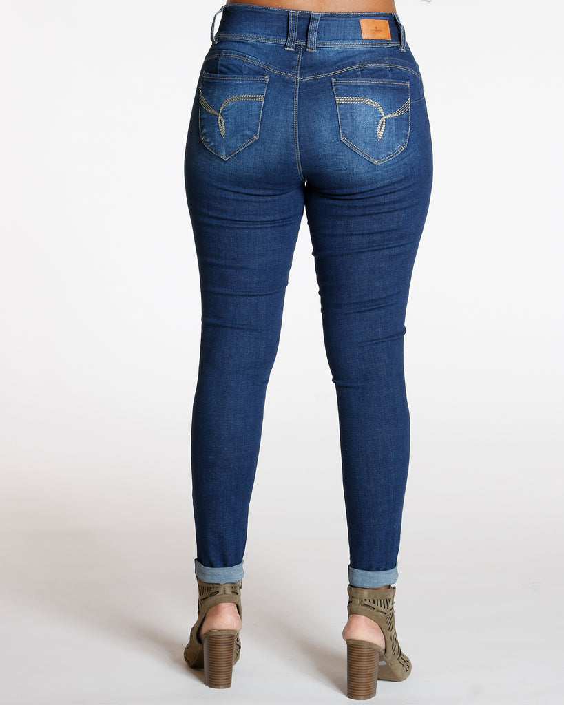 YMI Maura Two Button Colombian Cuff Bottom Jean - Dark Blue - ShopVimVixen.com