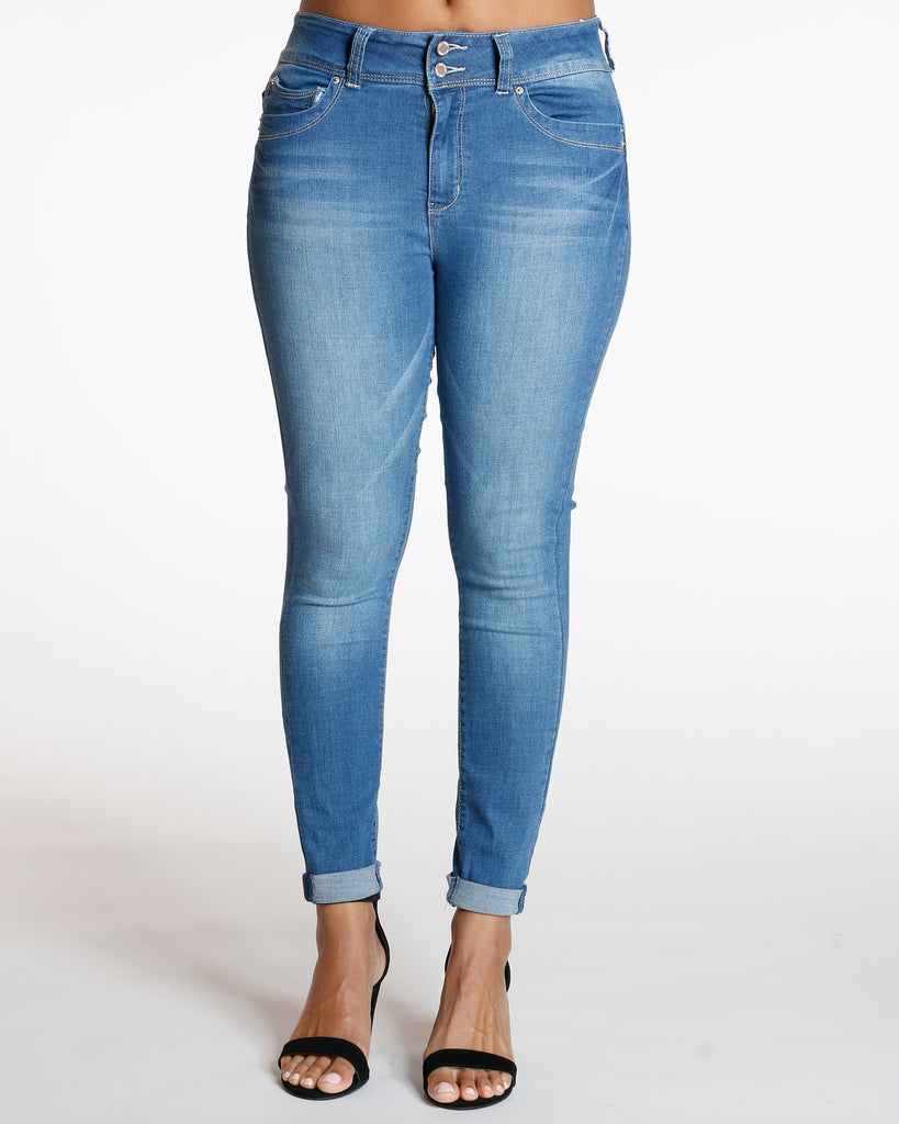 YMI Two Button Colombian Cuff Bottom Jean - Medium Blue - ShopVimVixen.com