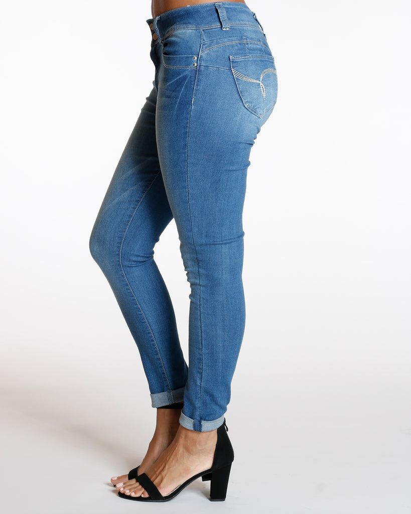 Medium Blue Two Button Colombian Cuff Bottom Jean