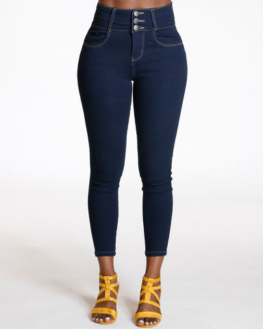 Leonie Three Button Push Up Skinny Jean