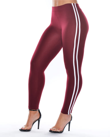 Two Stripes Fleece Leggings (Available in 5 colors)