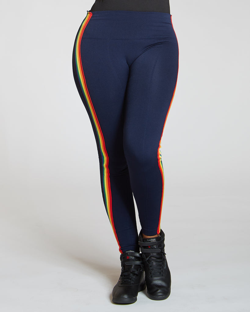 Rainbow Side Stripe Leggings (Available In 3 Colors)