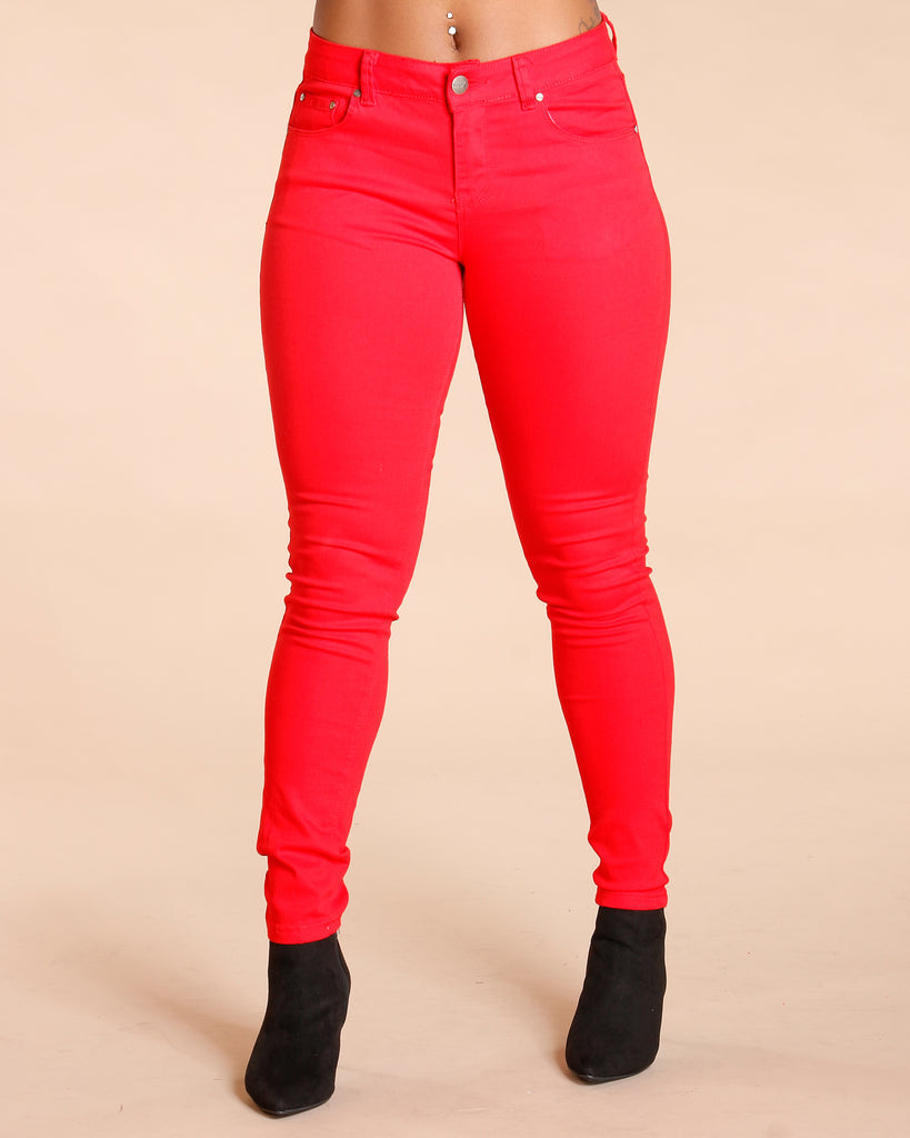Basic Stretch Pants - Red