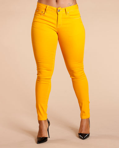 One Button Stretch Pants - Mustard