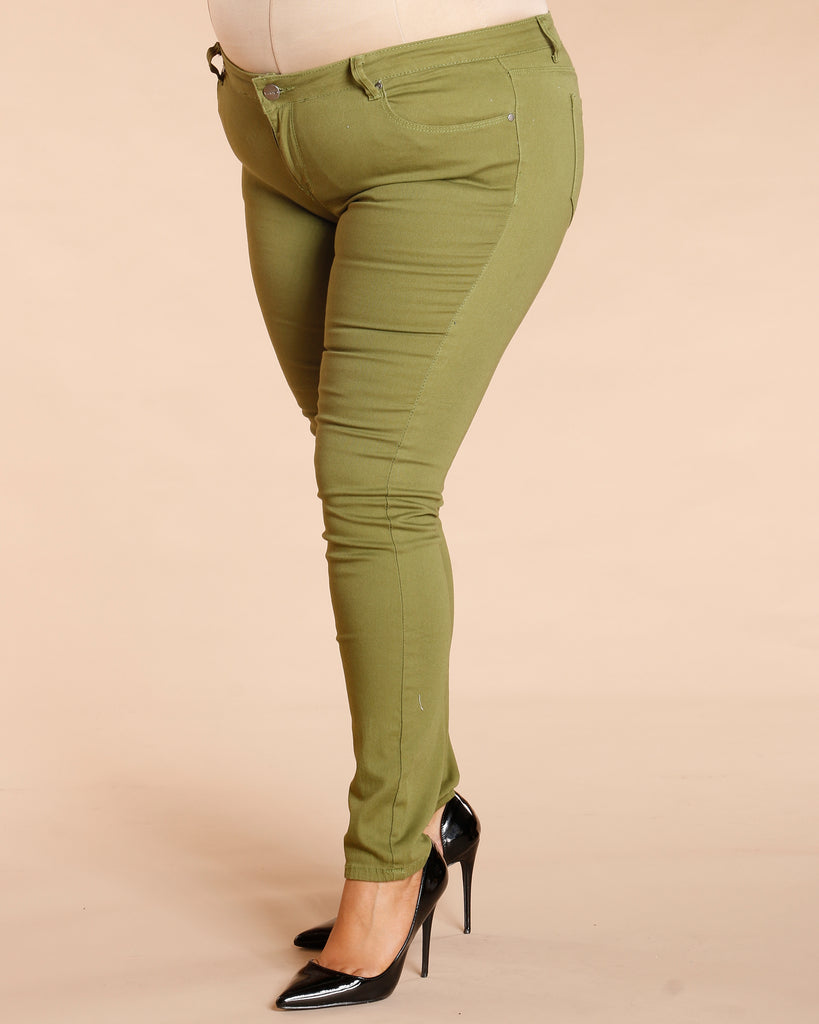 Basic Stretch Pants - Olive