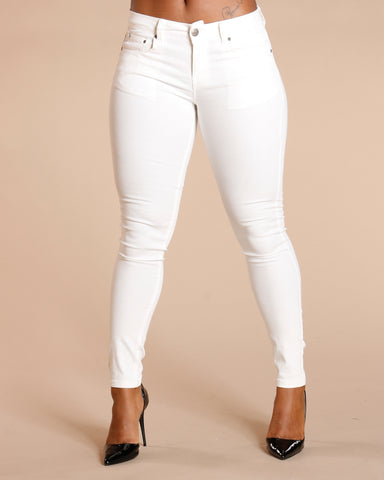 One Button Stretch Pants - White