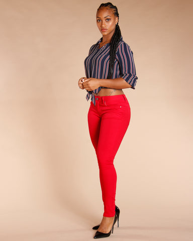 One Button Stretch Pants - Burgundy
