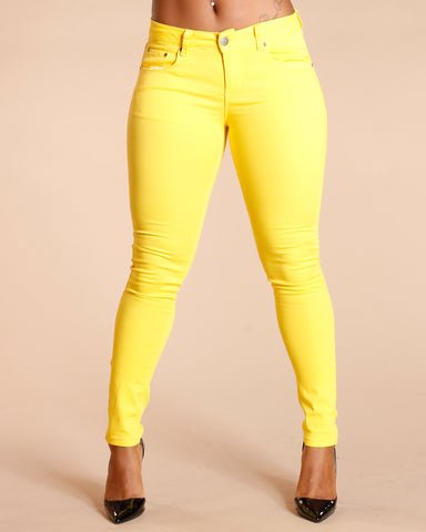 One Button Stretch Pants - Yellow