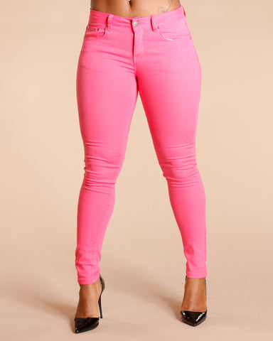One Button Stretch Pants - Hot Pink
