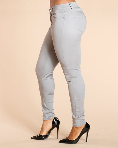 One Button Stretch Pants - Dark Grey