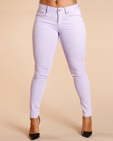 One Button Stretch Pants - Lavender