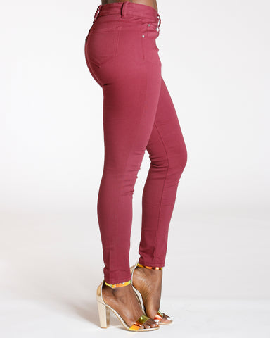 Burgundy Stretch Twill Pants
