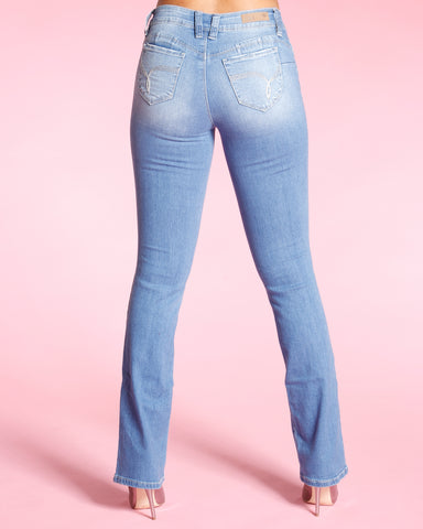 BOOT CUT BOOTY JEANS - MEDIUM BLUE