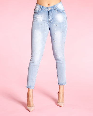 ALL OVER PERALS AND STONES JEANS - LIGHT BLUE