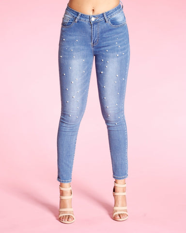 ALL OVER PERALS AND STONES JEANS -MEDIUM BLUE
