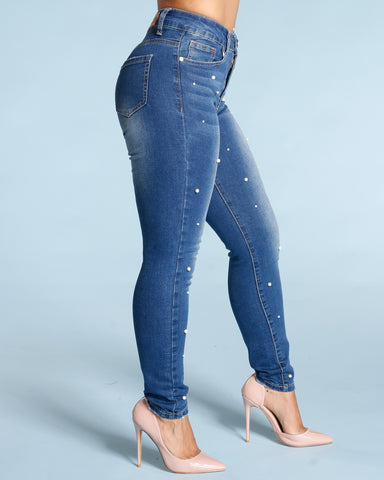 All Over Pearl Jeans - Dark Blue
