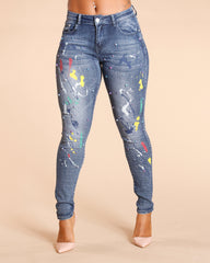 ALL OVER PAINT AND PEARLS JEANS - MEDIUM BLUE