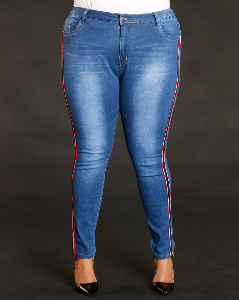 REMY MA BY VIM VIXEN Plus Side Stripe Faded Wash Jean - Medium Denim - ShopVimVixen.com