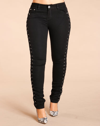 Side Lace Up Jeans - Black