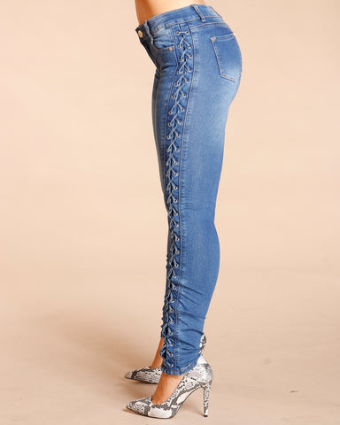 Side Lace Up Jeans - Blue