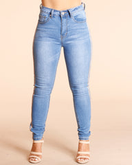 Side Stripe Rhinestone Jeans