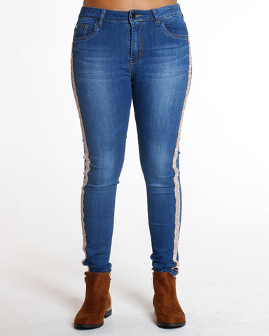 Dark Blue Side Rhinestone Jean
