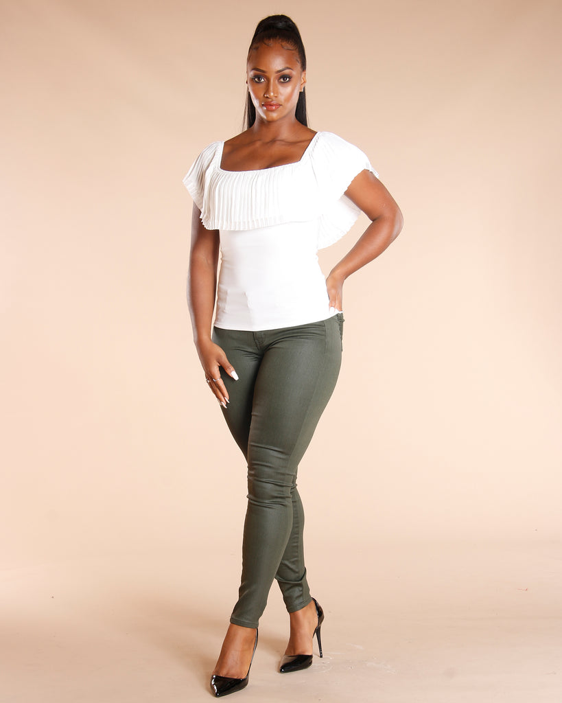 VIM VIXEN Coated Five Pocket Olive Jeans - ShopVimVixen.com