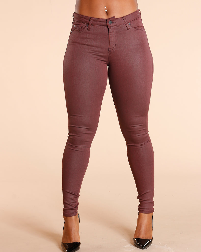 Coated Five Pocket Burgundy Jeans