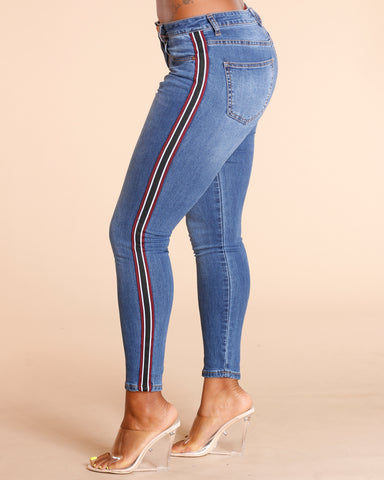 Side Stripe Taping Jeans