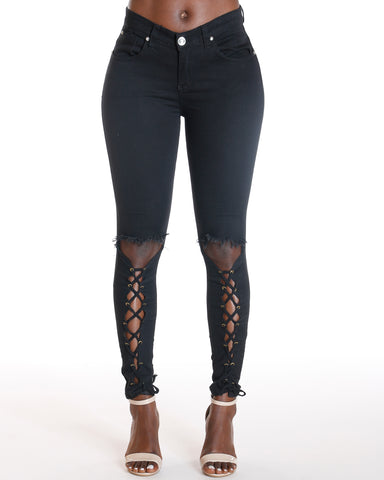 Ayanna Lace Up Leg Skinny Jean