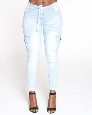 Light Blue Cargo Pull On Skinny Jean