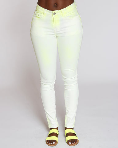 Yellow Neon Spray Wash Skinny Jean